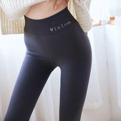 nooyi - 字母内抓毛高腰贴身裤