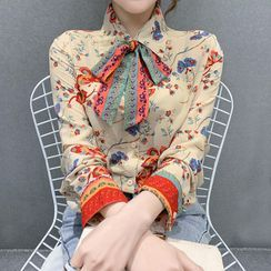 Yupina - Bow-Neck Floral Print Blouse