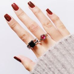 Jiniro - 925 Sterling Silver Rhinestone / Agate Open Ring