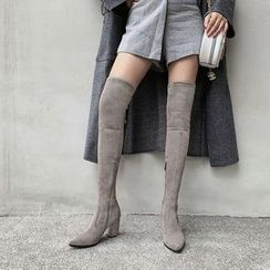 JY Shoes - Block Heel Over-The-Knee Boots