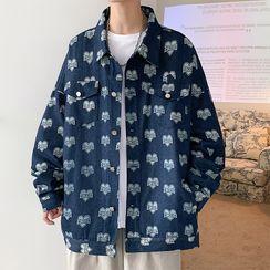 SuperLittle - Heart Print Washed Denim Jacket