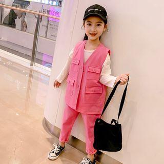 Pegasus - 小童套裝: 純色長袖T裇 + 飾口袋馬甲 + 褲