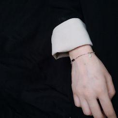 ERMIE - 925 Sterling Silver LUCKY Lettering Bracelet