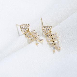 Zirajoy - 925 Sterling CZ Fish Bone Stud Earring