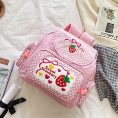 OUCHA - Strawberry Embroidered Nylon Backpack