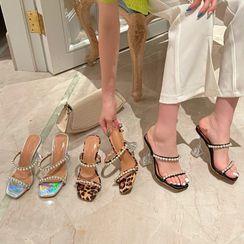Abrivia - High-Heel Beaded Sandals