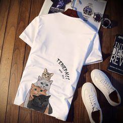 Fizze - Couple Matching Short-Sleeve Printed T-Shirt