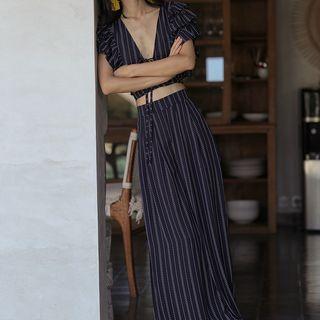 Sincethen - Set: Striped Crop Top + Striped Wide-Leg Pants