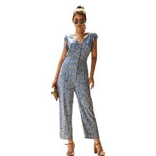 DELIYA - Floral Sleeveless Jumpsuit
