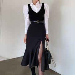 Aurora - 套装: 泡泡袖衬衫 + 无袖连衣中裙