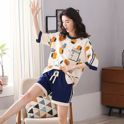 Lion Sniff - Printed Short Sleeve Loungewear Set