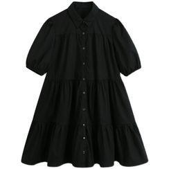 Dewewan - Puff-Sleeve Tiered A-Line Shirtdress