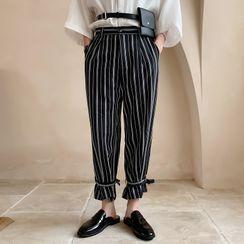 Bjorn - Striped Tie-Cuff Cropped Pants