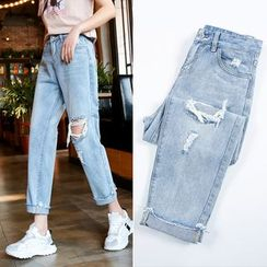 Coline - Distressed  Cropped Straight-Cut  Jeans