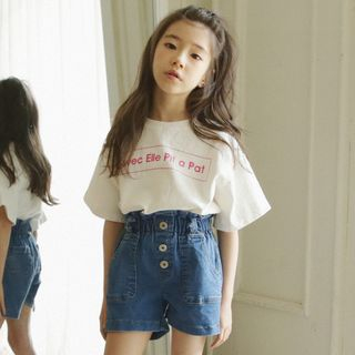 Cynanne - Kids Lettering Short Sleeve T-Shirt / Buttoned Denim Shorts