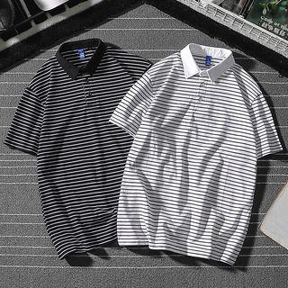 COFE - Elbow-Sleeve Striped Polo Shirt