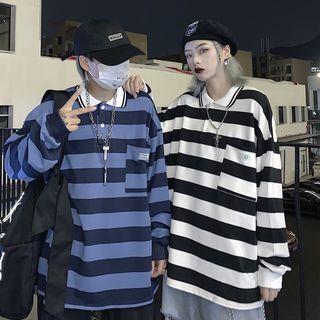 Giuliana - Couple Matching Striped Long-Sleeve Oversize Polo Shirt