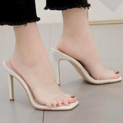 Niuna(二ウナ) - Square-Toe High-Heel Slide Sandals