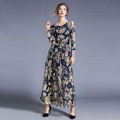 Justina - Lace Long-Sleeve Midi A-Line Dress