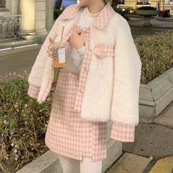 Cebusky - Fleece Jacket / Houndstooth Mini A-Line Skirt / Tights