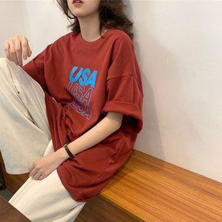Iduna - Elbow-Sleeve Letter Print T-Shirt