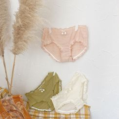 Josei Studio - Set Of 2: Ruched Chenille Pompom Panties