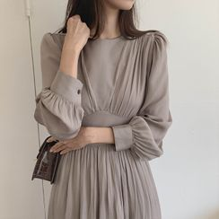 CHERRYKOKO(チェリーココ) - Cinched-Waist Long Crepe Dress