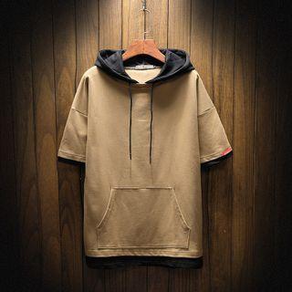 Aozora - Short-Sleeve Contrast Panel Hoodie