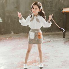 Pegasus - Kids Set: Plaid Panel Shirt + A-Line Skirt