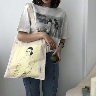 TangTangBags - Girl Print Canvas Tote Bag