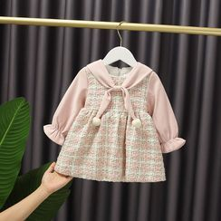 Mini Bae - Kids Bell-Sleeve A-Line Tweed Dress