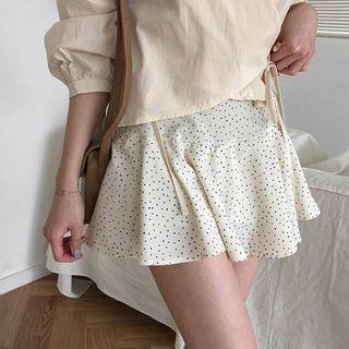 MERONGSHOP - Inset Shorts Ruffle-Hem Dotted Miniskirt