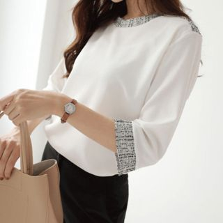 CLICK - Elbow-Sleeve Tweed-Trim Blouse