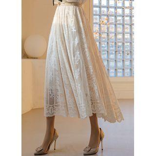 Styleonme(スタイルオンミー) - Flared Long Lace Skirt