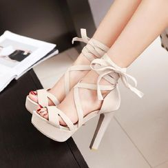 Freesia - Lace Up High Heel Sandals