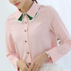 Ashlee - Color Panel Chiffon Shirt