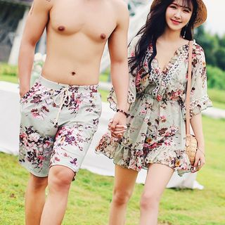 Candyseed - Couple Matching Swim Shorts / Floral Print Bikini / Cover Up / Set