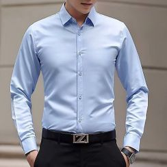 Wewewow - Long-Sleeve Plain Shirt