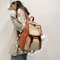 Kaffee - Set: Velvet Color Panel Backpack + Bag Charm