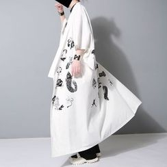 Ultra Modern - Print Short-Sleeve T-Shirt / Long Kimono Jacket