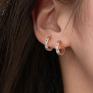 Zilverzmith - 925 Sterling Silver Roman Numeral Hoop Earring