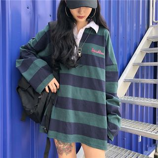 Magma - Long-Sleeve Striped Oversized Polo Shirt