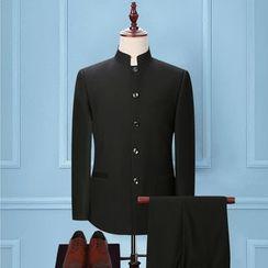 Tsuka - 套裝: 單排扣中式傳統上衣 + 西褲