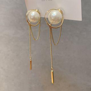True Glam - Faux Pearl Chained Dangle Earring