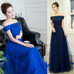 Sennyo - Off-Shoulder Lace Evening Gown