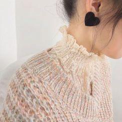 Purseka - Mock-Neck Lace Long-Sleeve Top
