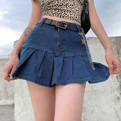 Sosana - Frilled-Hem Denim Mini Skirt