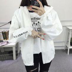 Ashlee - Lettering Embroidered Hooded Jacket