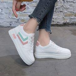 Asterisk - Color Panel Platform Faux Leather Sneakers