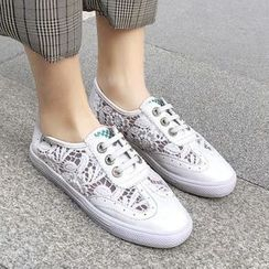 Shoes Galore - Lace Panel Faux Leather Sneakers